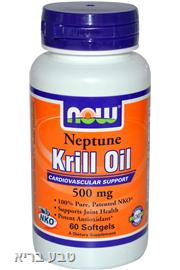 שמן קריל נפטון 60 כמוסות Now Krill Oil
