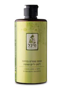 שמפו טבעי ממריץ בניחוח למון-ליים ומנטה | מיכל סבון טבעי